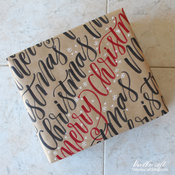 Hand Lettered Wrapping Paper  Make even the wrapping paper special by adding some hand lettering on it with a marker!