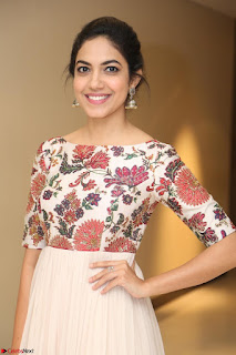 Ritu Varma smiling face Cream Anarkali dress at launch of OPPO New Selfie Camera F3 ~  Exclusive 105.JPG