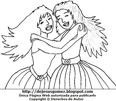 Dibujo de mujeres jóvenes abrazándose para colorear pintar imprimir, dibujo de mujeres de Jesus Gómez