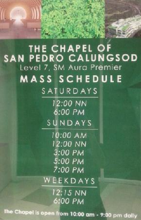 sm aura mass schedule