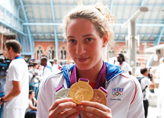 Camille Muffat with her Medals in London Olympic 2012