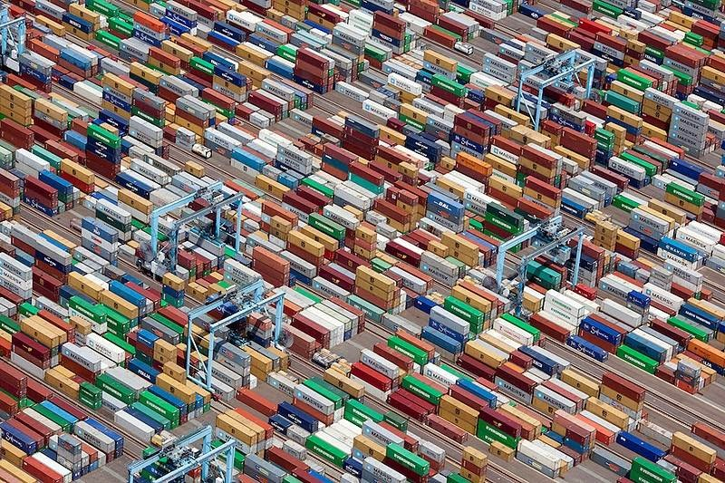 Cargo containers in Portsmouth, Virginia, USA.