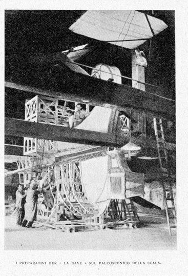 Building the ship for the set for La Nave at La Scala, 1918