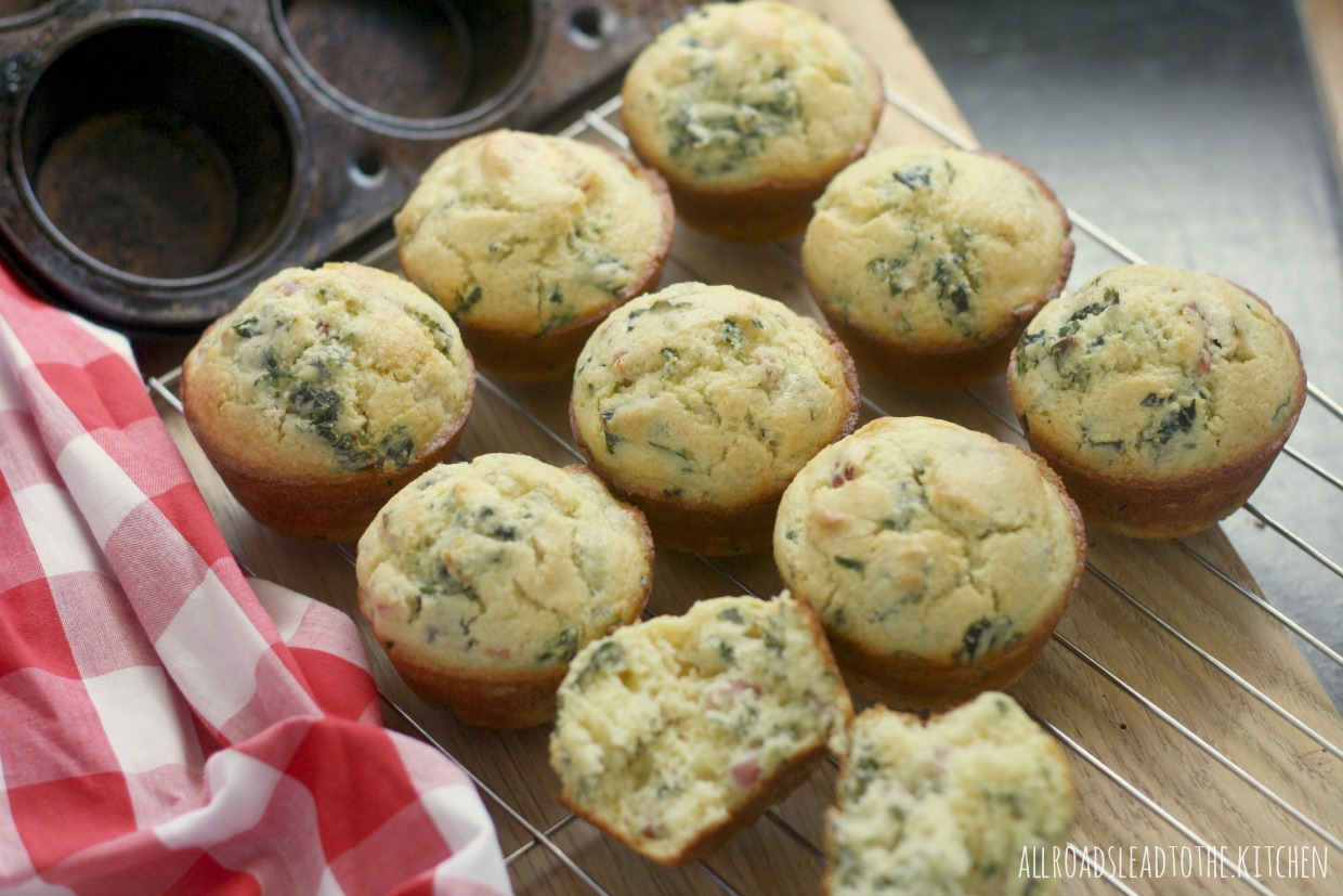 Ham and Greens Corn Muffins