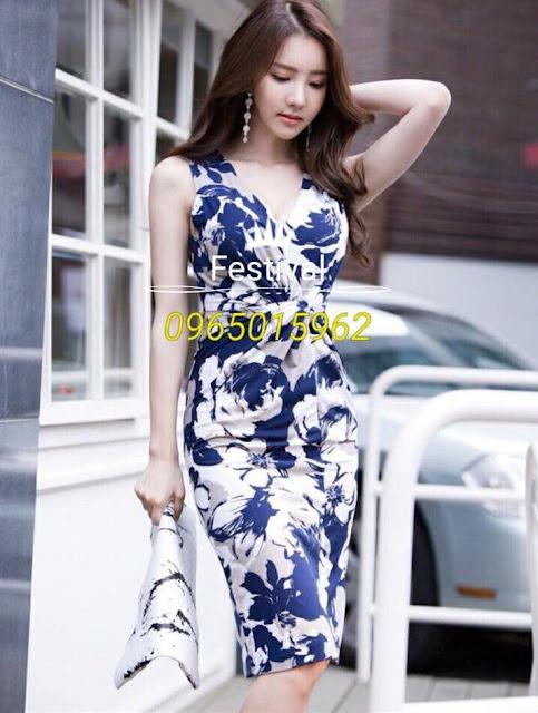 Đầm body thun hoa cổ chữ v - F1005Mb - Ảnh 1