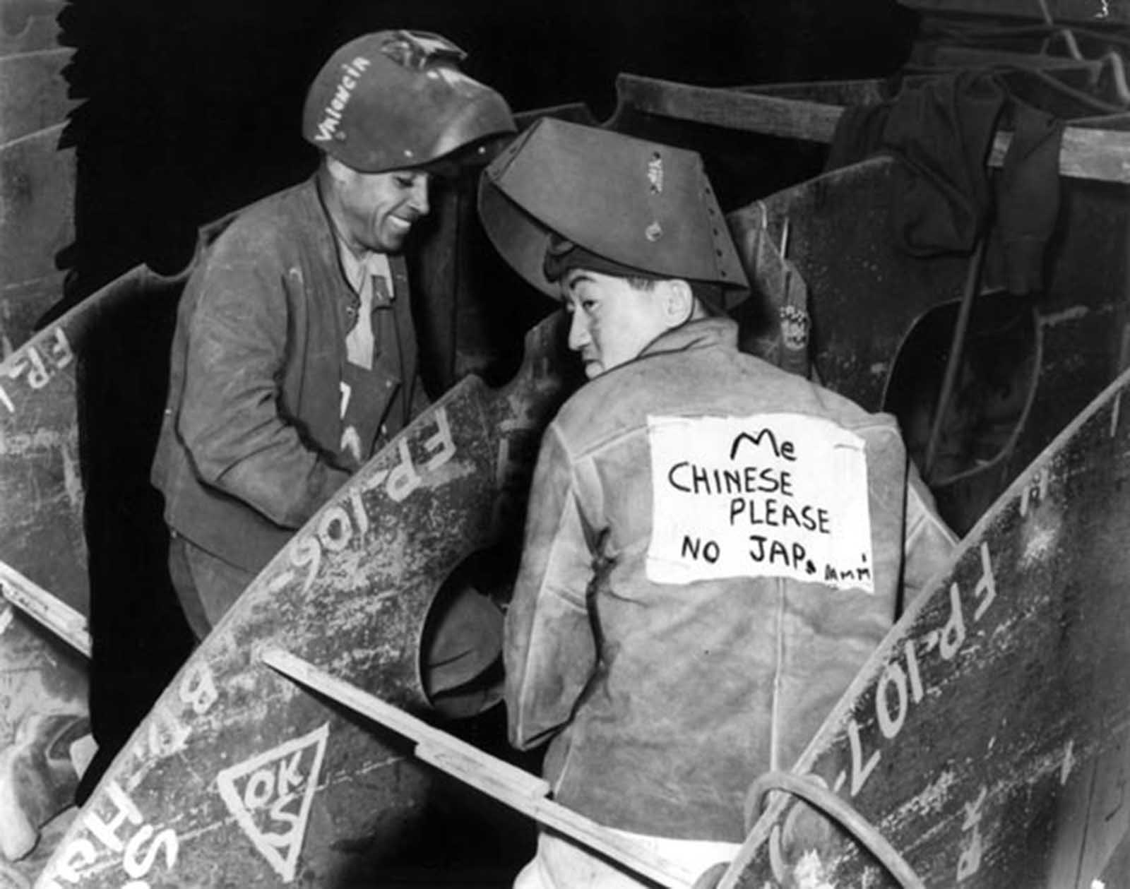 During World War Ii Chinese Americans Wore Signs