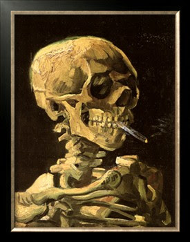 portrait art for gallery wall, Skull with Burning Cigarette, Van Gogh