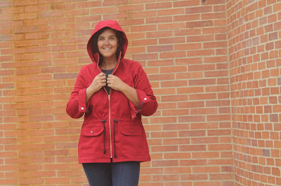 The Lonetree Jacket sewing pattern by Allie Olsen in red twill with a gold zipper.