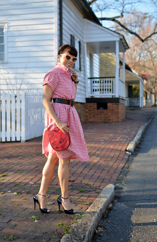 Outfit with red gingham dress