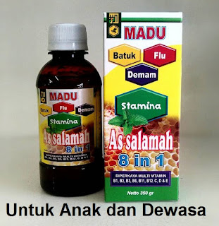 Jual khasiat madu  batuk  flu pilek 8 in1 as salamah asli original