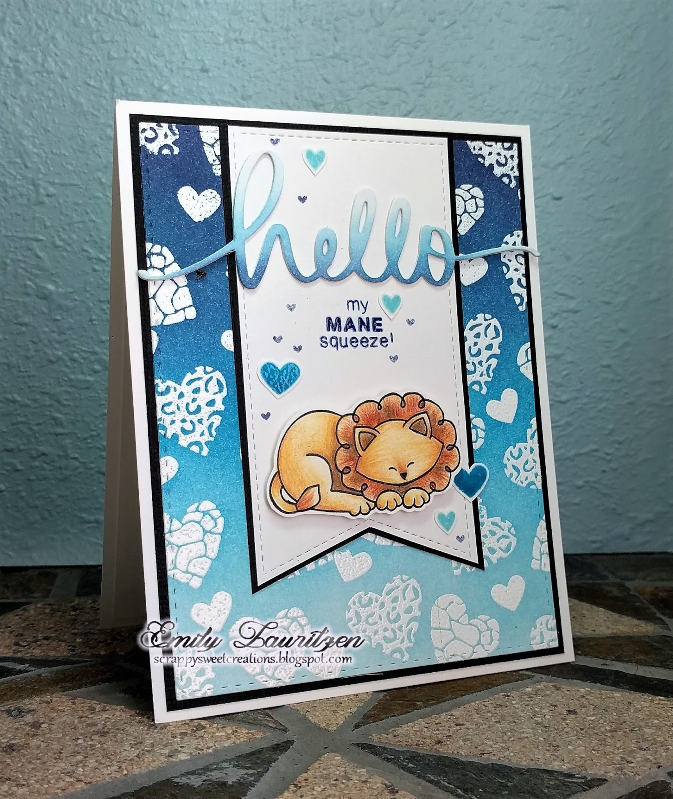 Lion Card by February Guest Designer Emily Lauritzen | Wild about Zoo stamp set by Newton's Nook Designs #newtonsnook