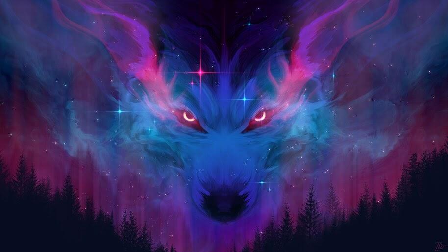 Night, Wolf, Forest, Digital Art, 4K, #4.2012