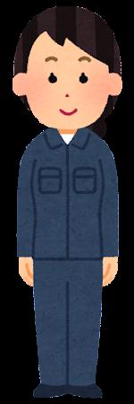 紺の作業着を着た人のイラスト(女性)