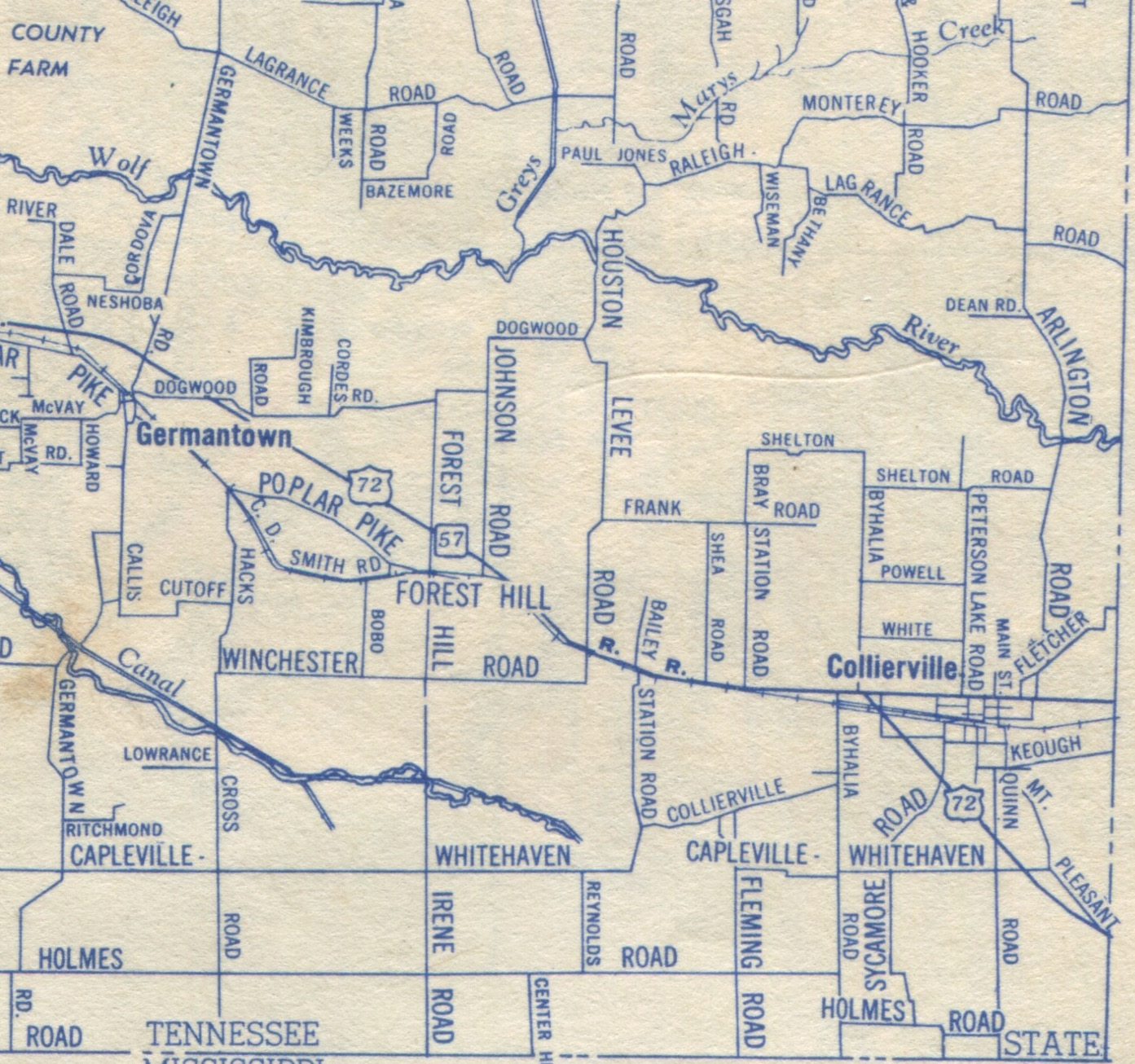 map no 5 riverdale west west farmington and byhalia new byhalia this 1958 j foster ashburn map of germantown and collierville show the three