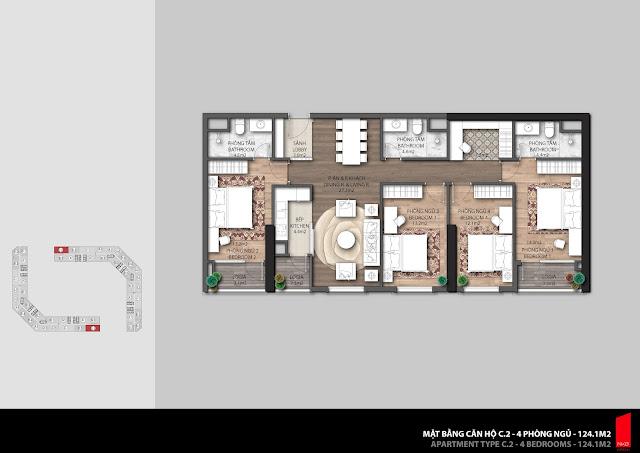 Thiết kế căn C2 diện tích 124,1m2 chung cư The Emerald