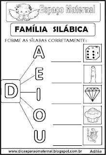Família silábica alfabetização letra D
