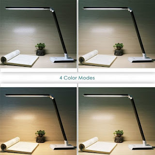 Deckey Dimmable 10W Rotatable LED Desk Lamp,Touch-sensitive Control Panel,Eye-caring Table Lamp,Energy Efficiency,4 Color Modes(Black)