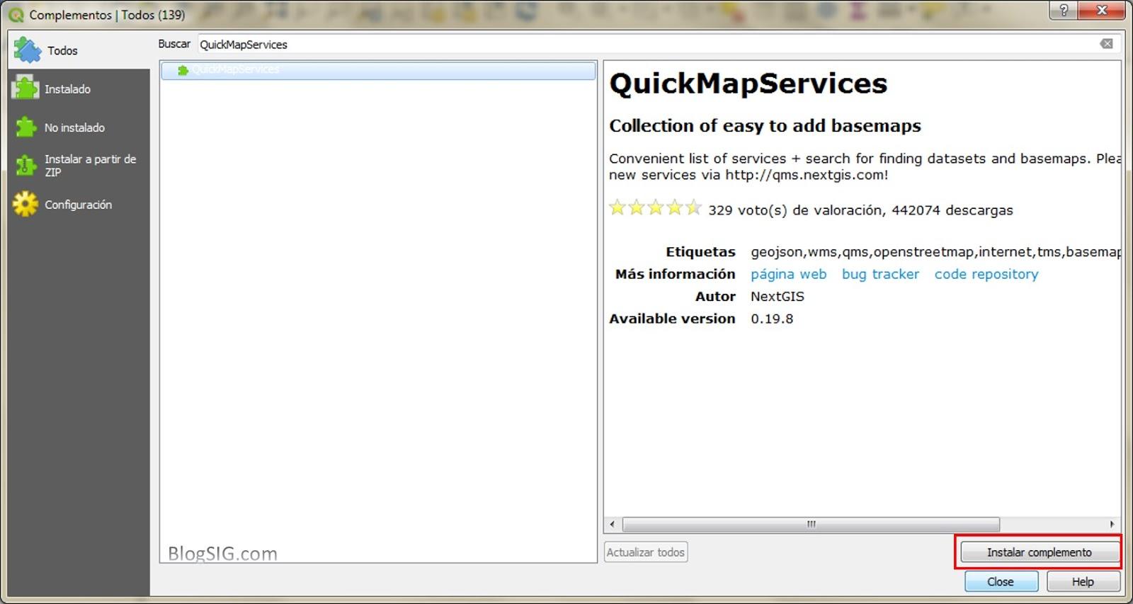 Blog SIG: Como instalar QuickMapServices en QGIS 3