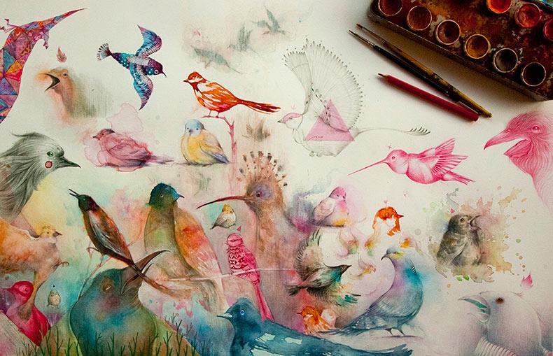 Libro de cuentos de caprichosas bestias y pájaros ilustrado por Vorja Sánchez