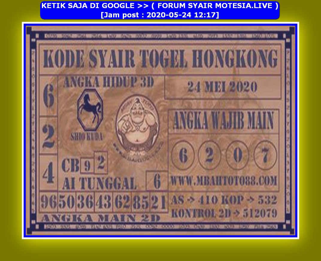 Kode syair Hongkong Minggu 24 Mei 2020 102