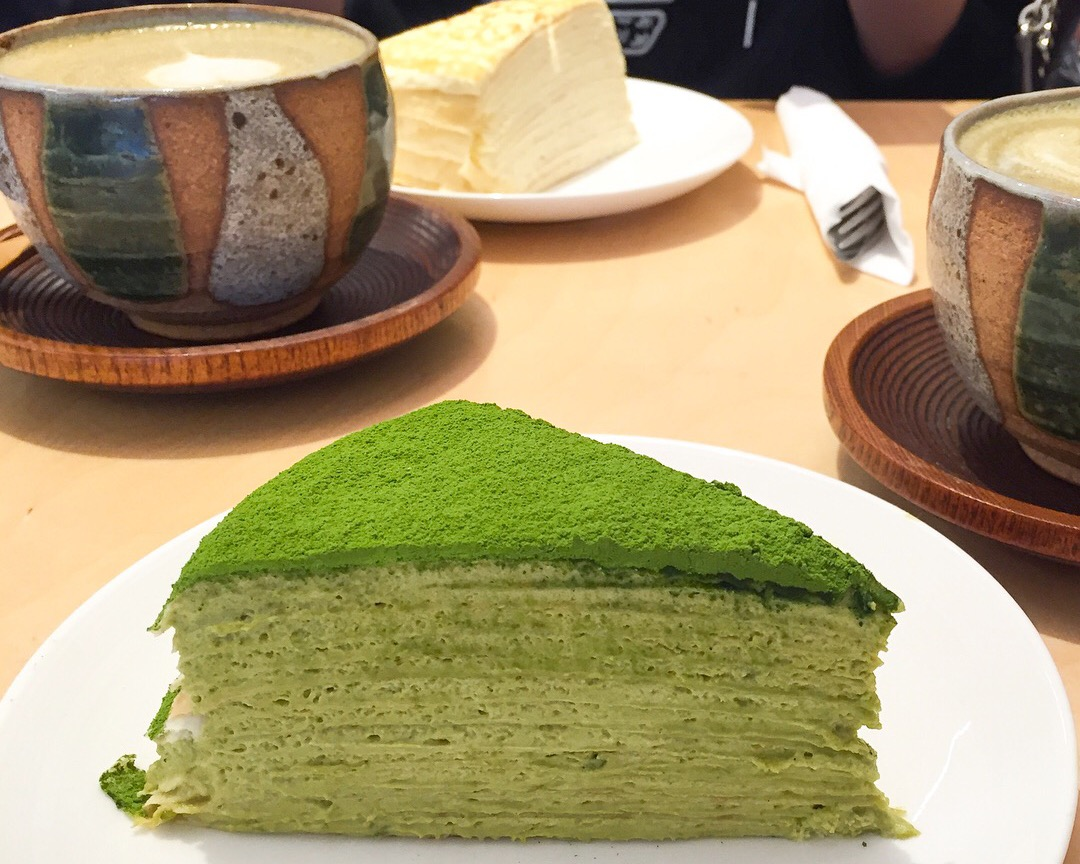 Matcha millecrepes at Kova Patisserie in Soho