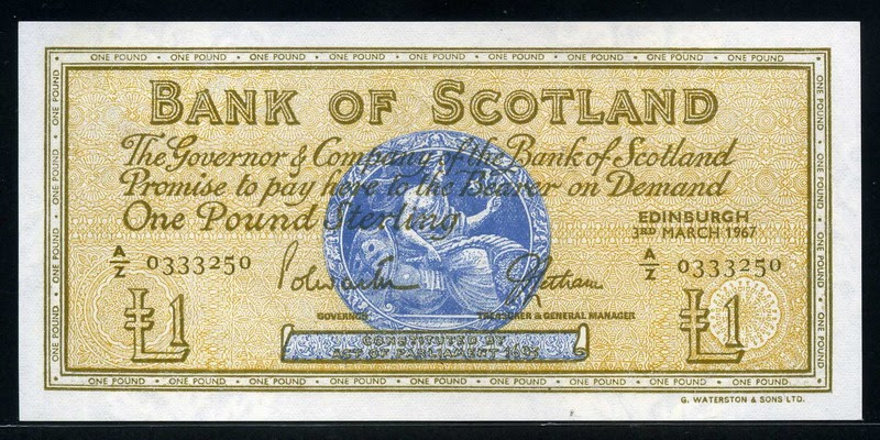 Bank Of Scotland 163 One Pound Note World Banknotes Amp Coins