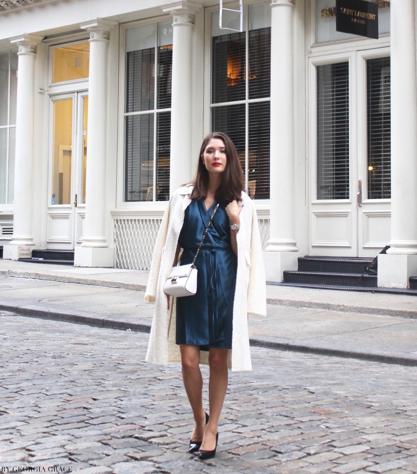 NYFW Look 1 AYR Bleu Fir Wrap Dress