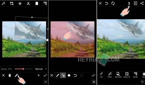 Aplikasi Edit Foto Ikan di Langit PicsArt
