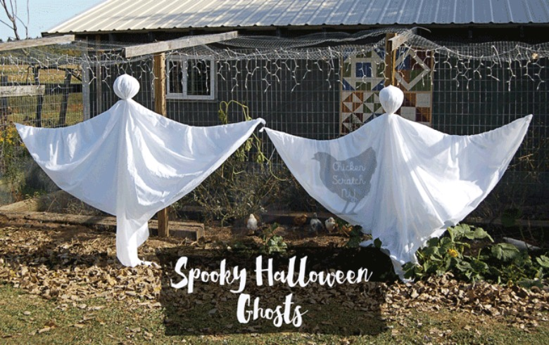 outdoor sheet hanging ghosts by chicken scratch NY - Ghost crafts for kids