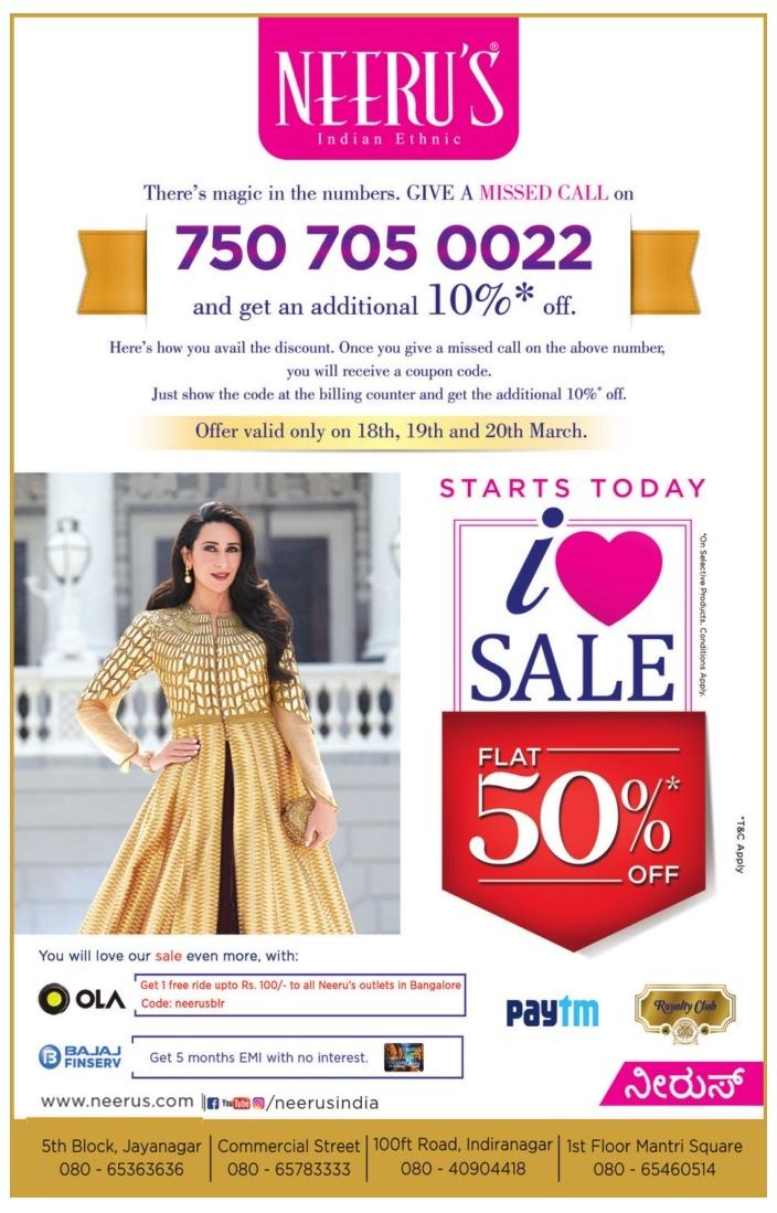 Neerus flat 50% off sale