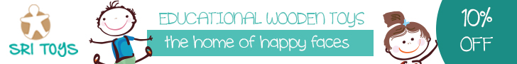 Banner advert saying: Educational wooden toys, the home of happy faces 10% off