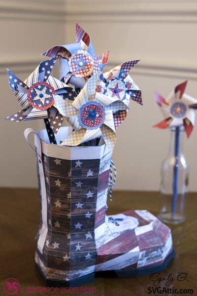 3d paper boot with pinwheels