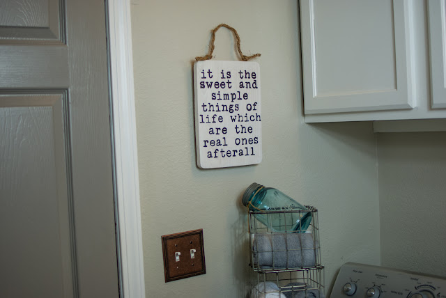 Farmhouse Style Laundry Room DIY Wood Sign | Laura Ingalls Wilder Quote