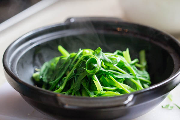 Boiled water spinach