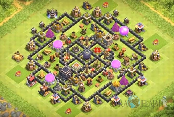 Base Farming TH 9 COC Update Bomb Tower Terbaru 2017 Tipe 4