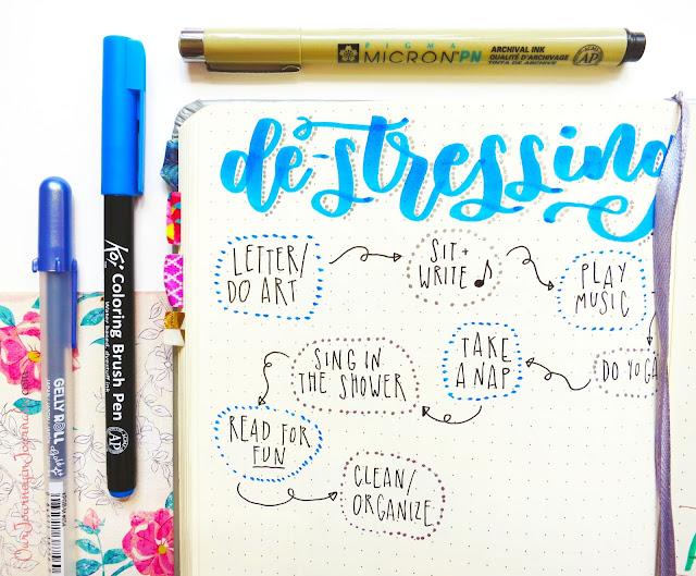 bullet journal self-care/de-stressing spread