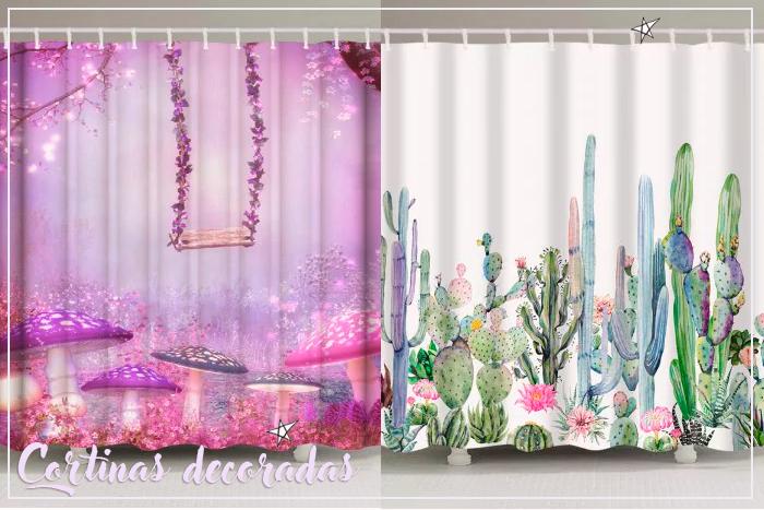 Cortinas de banho com natureza e fantasia: Rosegal