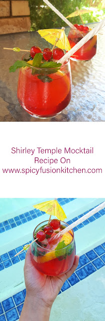shirley temple, mocktail, recipe, shirley temple drink, shirley temple mocktail, food, food blog, food blogger, summer time, spicy fusion kitchen, non alcoholic drinks, pin it, pinterest drinks,