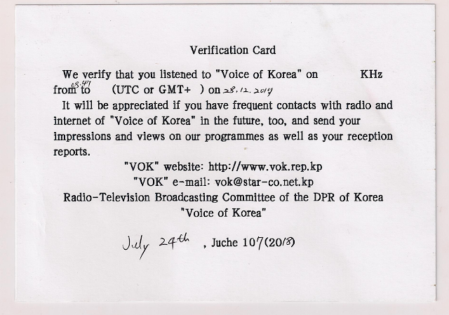 VOK Voice of Korea QSL