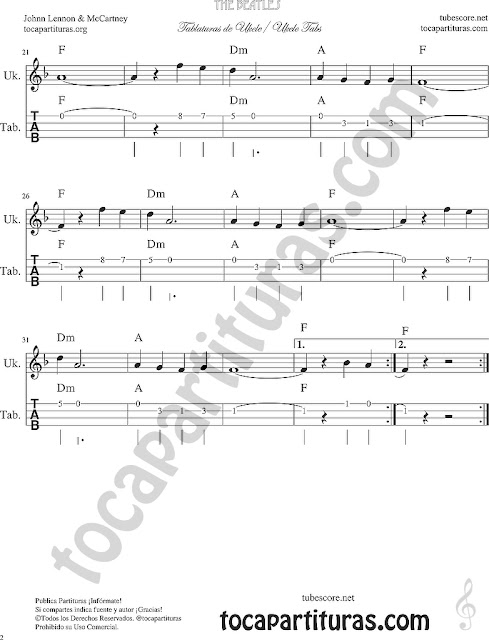 All my loving Tablatura y Partitura de Ukelele Tabs Sheet Music for Easy Ukelele-2