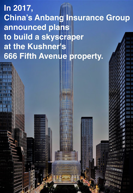 Jared Kushner and China's Anbang Insurance Group announced plans to build a skyscraper at Kushner's Manhattan's 666 Fifth Avenue. Prosecuting Satan. marchmatron.com