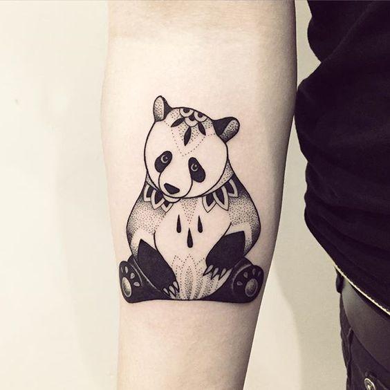 Cute Pand Tattoo On Hand