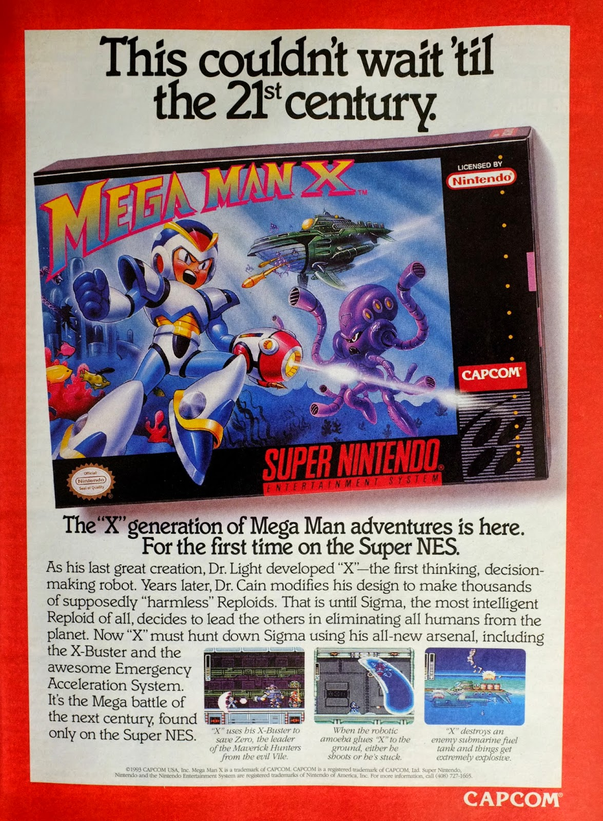 Mega Man X for Super NES advertisement