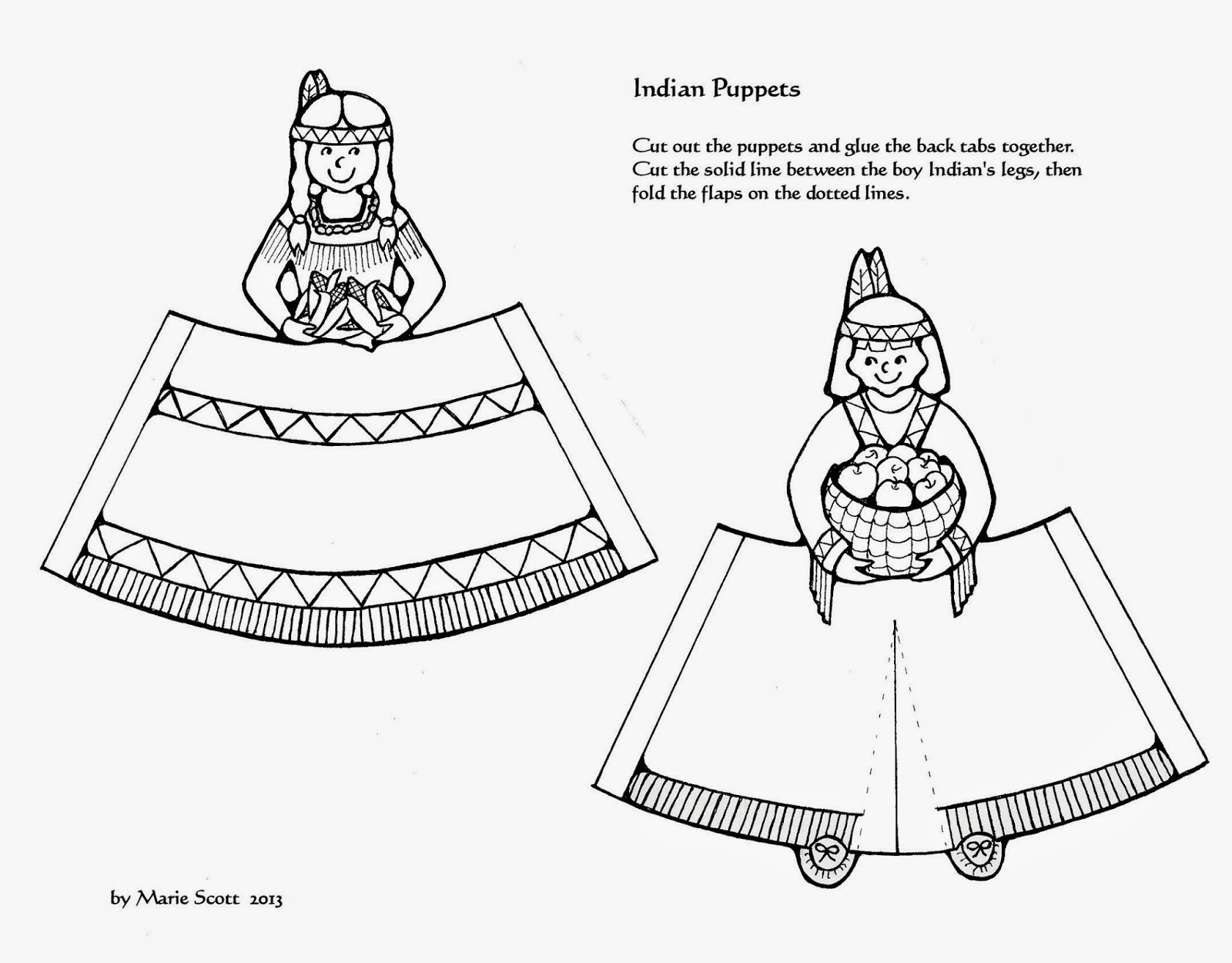 Serendipity Hollow: Pilgrim and Indian paper dolls