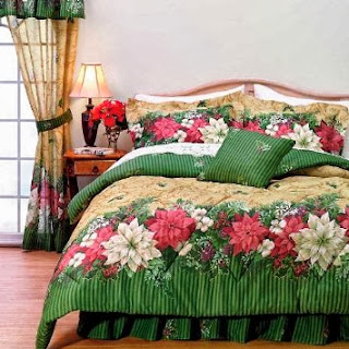 Christmas Poinsettia Comforter Set Twin Holiday Bedding