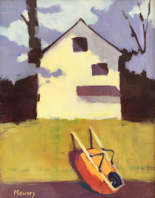 A suburban landscape painting by Barb Mowery of her neighbor's house and a wheel barrow.