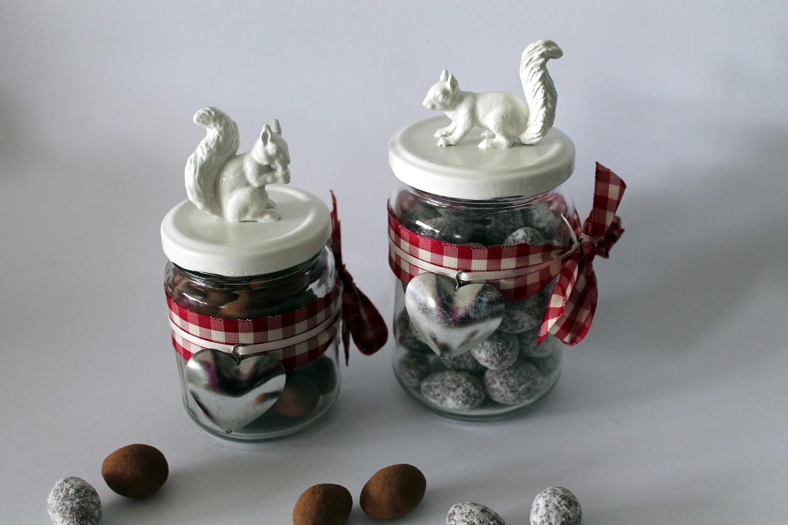 DIY, Basteln: Vorratsgläser Eichhörnchen in Herbstdekoration, Geschenke aus der Küche und Geschenkidee - DIYCarinchen