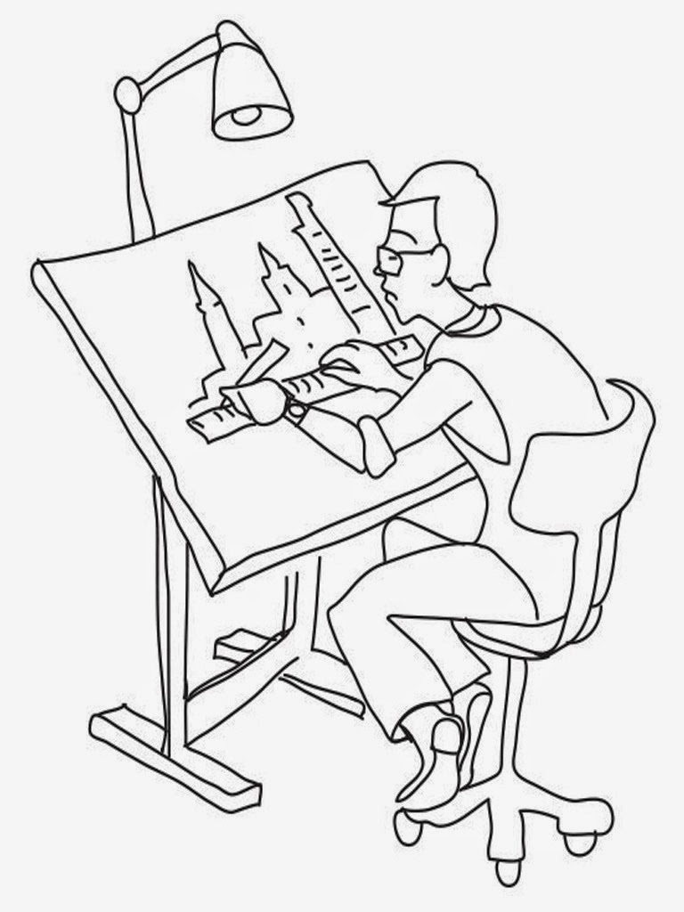 architect job coloring pages to print out
