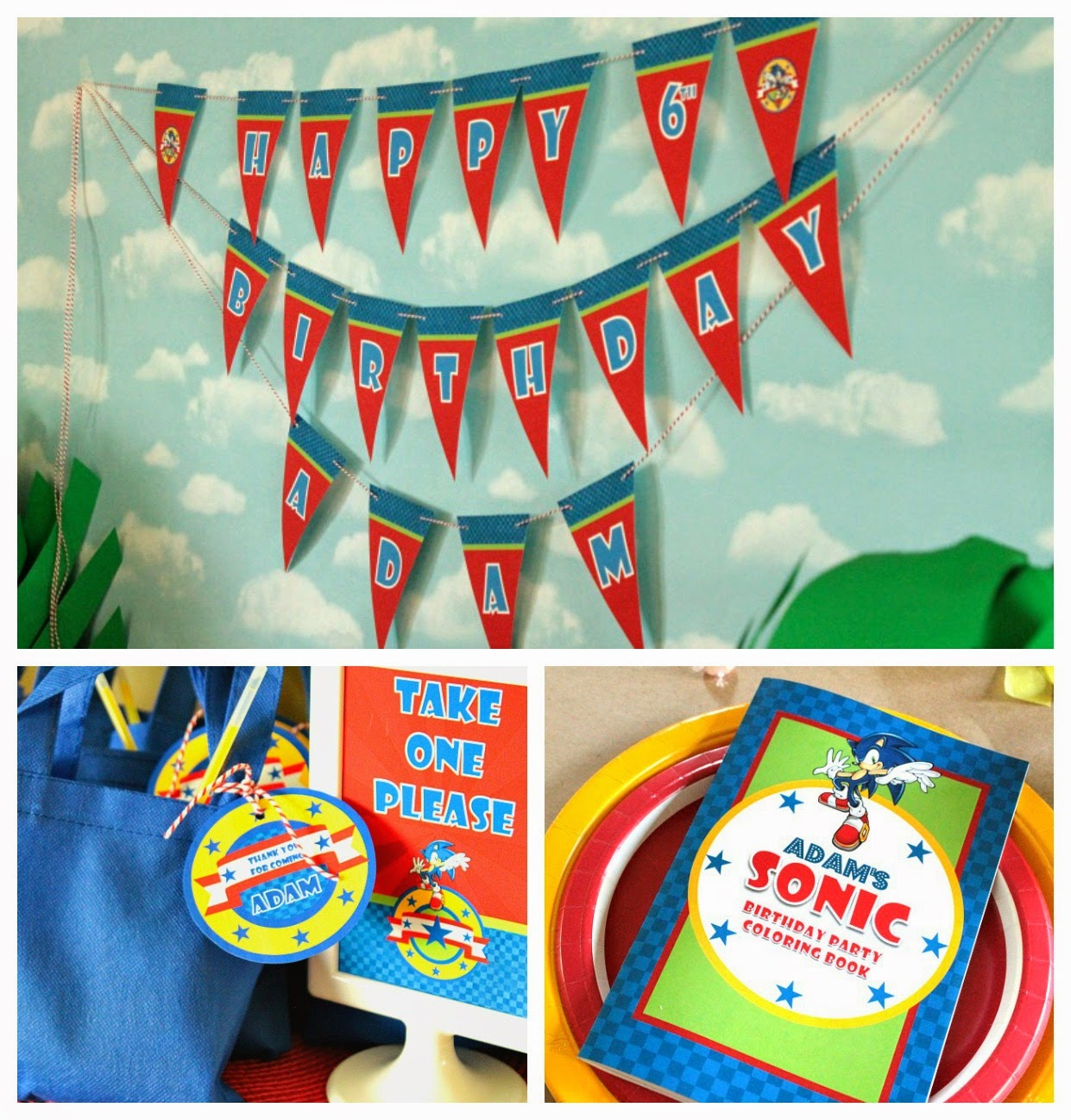 sonic the hedgehog party favors, sonic the hedgehog bag fillers, sonic the hedgehog party banner