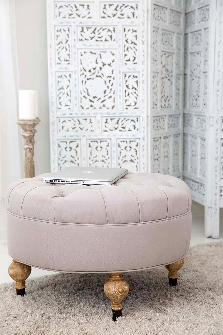 grey tufted ottoman gumball lamp